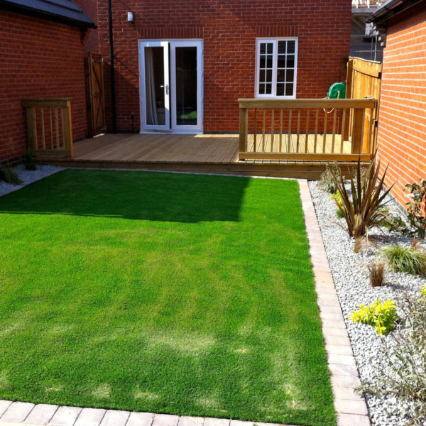 Landscaping project which included new grass fitting & patio decking