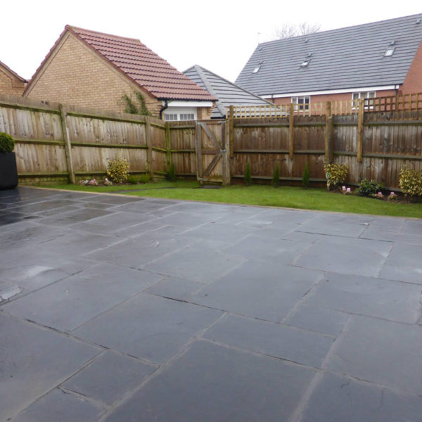Newly fitted paving which will be now used as a patio in the back garden.